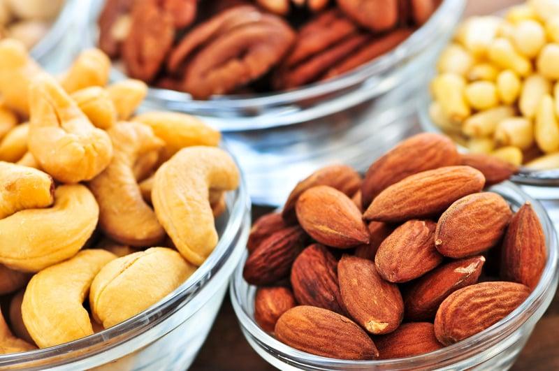 Almonds cashews and pecans